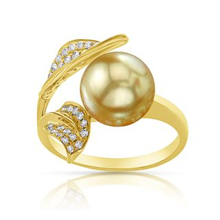 Radiance Pearl 18k Gold Golden South Sea Pearl and Diamond Accent Ring