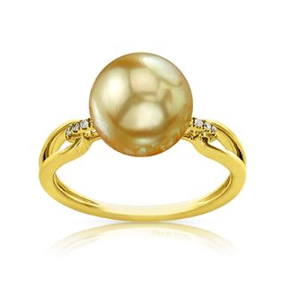 Radiance Pearl 14k Gold Golden South Sea Pearl and Diamond Accent Ring (Option: 6.5)
