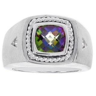 H Star Sterling Silver Checkerboard Cushion Mystic Fire Topaz and .03ct TDW Diamond Men's Ring (H-I, I2-I3)