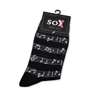 TeeHee Music Lovers Black Notes Cotton Crew Socks