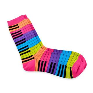 TeeHee Music Lovers Multicolored Piano Cotton Crew Socks