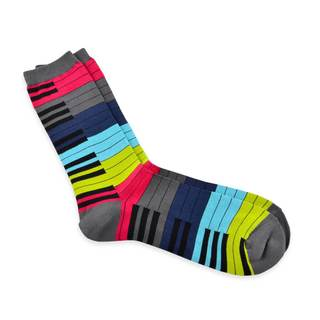 TeeHee Grey Multicolored Music Lovers Cotton Crew Socks