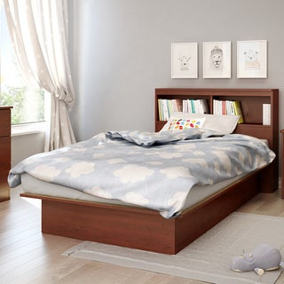South Shore Step One Twin Platform Bed with Bookcase Headboard Set