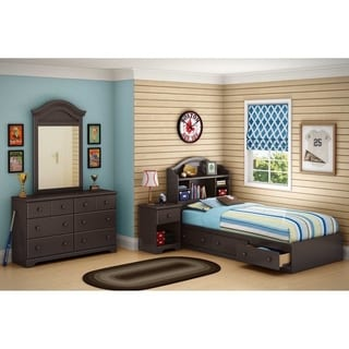 South Shore Summer Breeze Twin Mates Bed with Drawers and Bookcase Headboard
