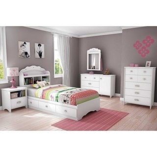Lovely South Shore Tiara Twin Mates Bed With Drawers And Bookcase Headboard