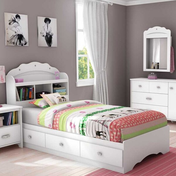 South S Tiara Twin Mates Bed With Drawers And Bookcase Headboard