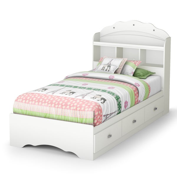 South Shore Tiara Twin Mates Bed With Drawers And Bookcase