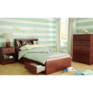 South Shore Little Treasures Twin Mates Bed with Drawers and Bookcase Headboard