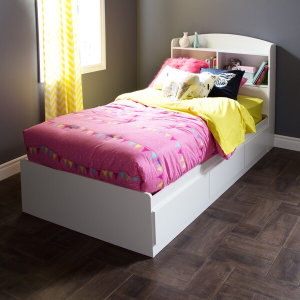 shop south shore logik twin mates 39 inch bed with 3 drawers free shipping today overstock. Black Bedroom Furniture Sets. Home Design Ideas
