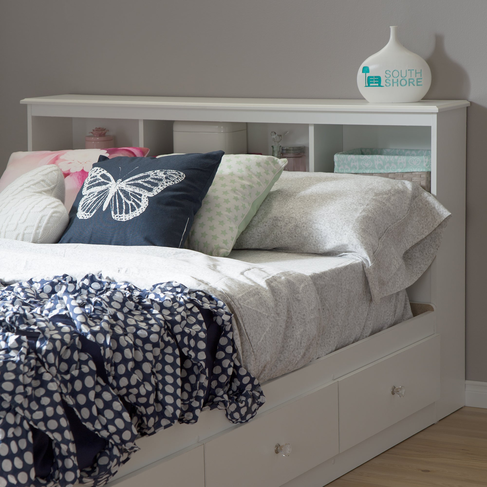 Full Size 54 Inch White Bookcase Headboard