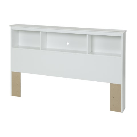 Full-Size 54-inch White Bookcase Headboard