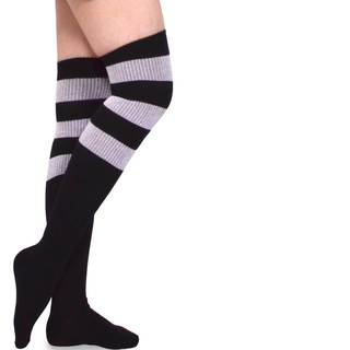 TeeHee Women's Cotton Fashion Over the Knee High Ribbed Stripe Varsity Socks