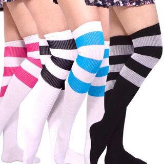 TeeHee Womens Cotton Over The Knee Ribbed Stripes Socks (Pack of 4)