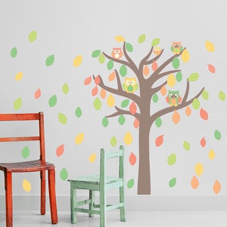Colorful Owl Tree Floral Wall Decal