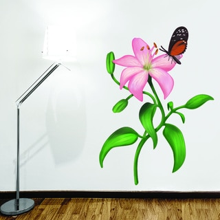 Lily with Butterfly Floral Wall Decal