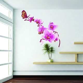 Orchid with Butterflies Floral Wall Decal