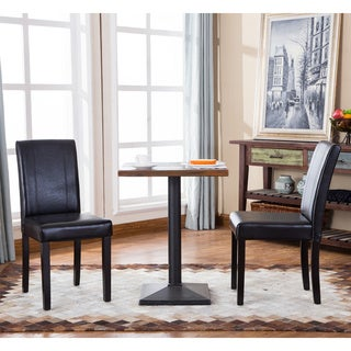 Urban Style Solid Wood Leatherette Small Padded Parson Chairs (Set Of 2)
