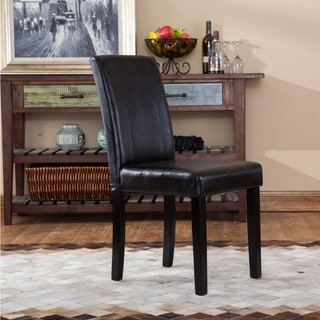 Urban-Style Solid Wood Leatherette Padded Parson Chair (Set of 2)