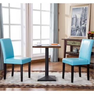 blue dining room chairs. Porch  Den Botanical Heights Hickory Solid Wood Leatherette Small Padded Parson Chairs Set of Blue Kitchen Dining Room For Less Overstock com