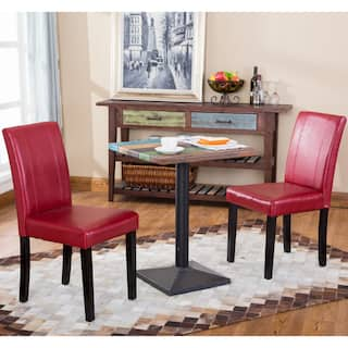 red dining room chairs. Porch  Den Botanical Heights Hickory Solid Wood Leatherette Small Padded Parson Chairs Set of Red Kitchen Dining Room For Less Overstock com