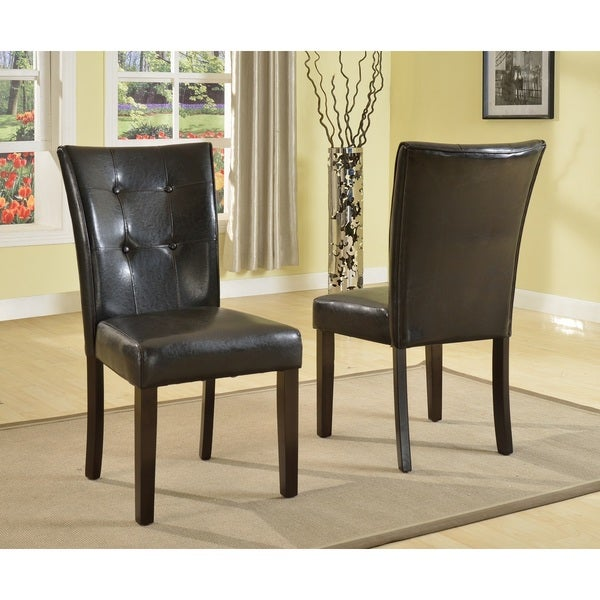 Vers black faux leather parson dining chair with espresso for Black leather parsons chairs