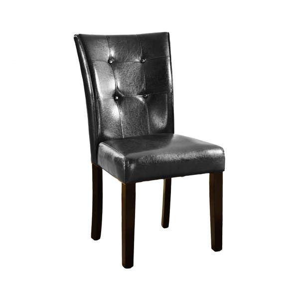 Pleasing Vers Black Faux Leather Parson Dining Chair With Espresso Legs Set Of 2 Beatyapartments Chair Design Images Beatyapartmentscom