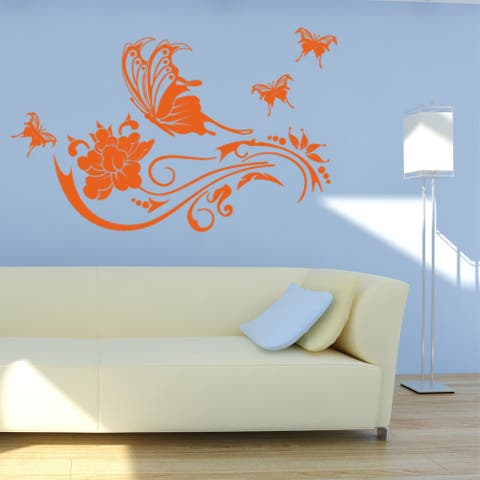 Butterfly Vine Floral Wall Decal