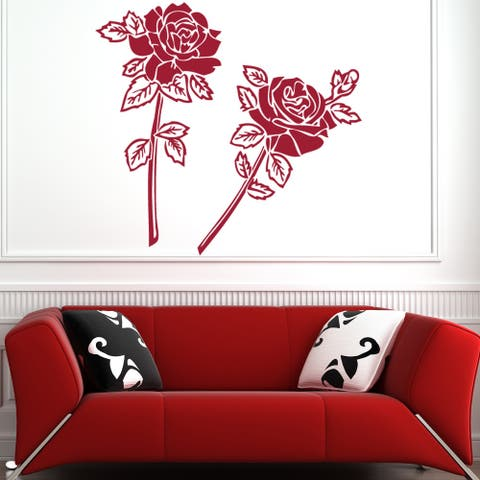 Rose Couple Floral Wall Decal