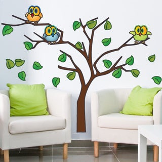 Owls in a Tree Wall Decal