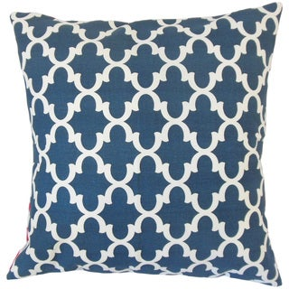Benoite Navy Geometric 18-inch Feather and Down Filled Throw Pillow