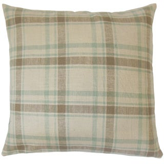Quinlan Plaid 18-inch Feather and Down Filled Throw Pillow