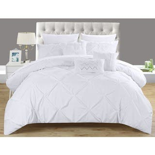 maison rouge burgess white pintuck microfiber 10 piece bed in a bag with sheet set - Bedding In A Bag