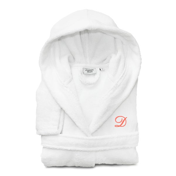 Sweet Kids White with Hot Pink Monogram Turkish Cotton Hooded Terry Bathrobe