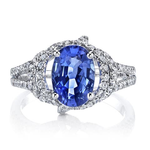 Lihara and Co 18k White Gold Sapphire and 3/4ct TDW Diamond Ring (G-H, VS1-VS2)