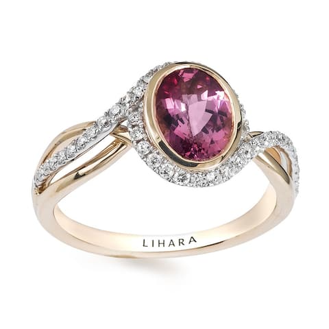 Lihara and Co 18k Yellow and White Gold Spinel and 1/4ct TDW Diamond Ring (G-H, VS1-VS2) - Pink