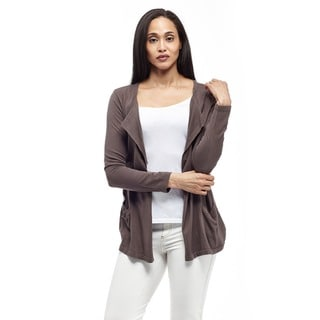 La Cera Women's Long Sleeve Collar Cardigan