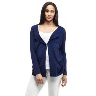 La Cera Women's Long Sleeve Collar Cardigan