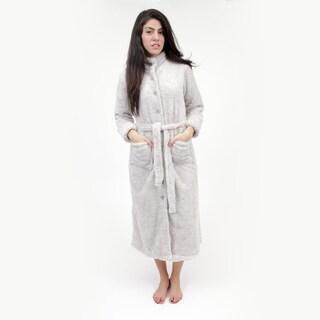 La Cera Women's Taupe Full-length Fleece Robe