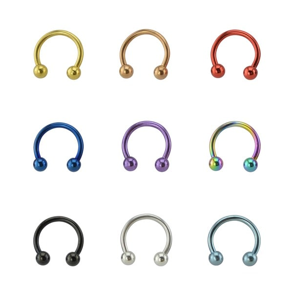 Supreme Jewelry 16g Anodized Titanium  Horse Shoe Rings (Pack of 9)