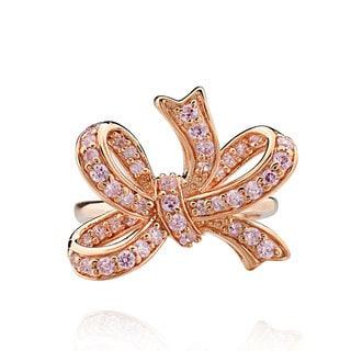Sterling Silver Rose Goldplated Round Cubic Zirconia Bowknot Ring (China)