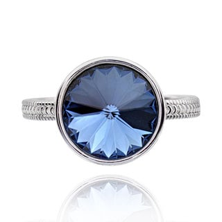 Sterling Silver Round Solitaire Crystal Ring (China)
