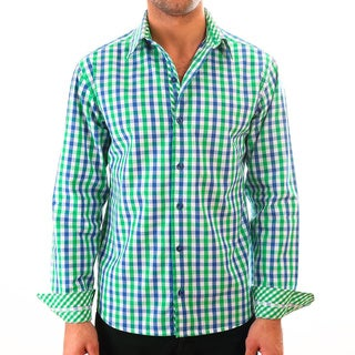 Luciano Mens Slim Fit Cotton Shirt by Vince Barbera Green Gingham