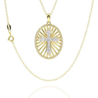 Sterling Silver Goldplated Crystal Cross 18-inch Necklace (China)