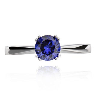 Sterling Silver Round Created Blue Sapphire Solitaire Ring (China)