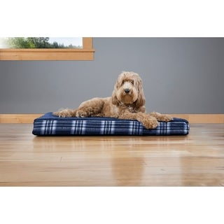 Furhaven Faux Sheepskin and Plaid Deluxe Memory Foam Pet Bed