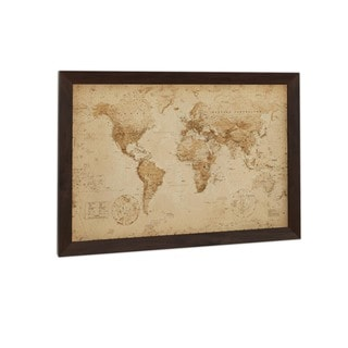 World Map Antique Print (24-inch x 36-inch) with Traditional Black Wood Frame