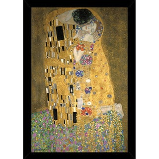 Klimt's Kiss Print (24 inch x 36-inch) with Traditional Black Wood Frame