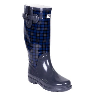 Women's Mid-Calf Blue Plaid Rubber Rain Boots