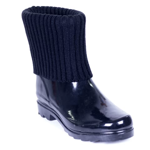 Women's Short Ankle Rubber Black Knit Sock Cuff Rain Boots