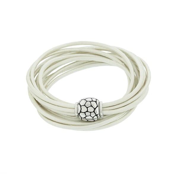 Blue Box Jewels Sterling Silver Genuine Leather 6-strand Double Wrap Bracelet
